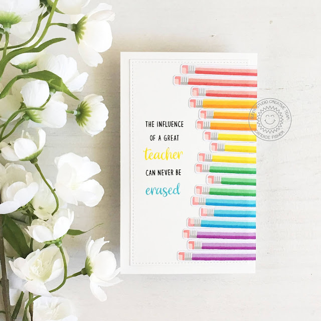 Sunny Studio Stamps: Color My World Slimline Dies Crayon Themed Appreciation Card by Candice Fisher