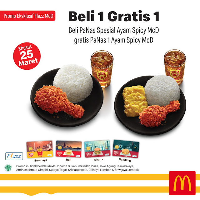 #MCDonald's - #Promo Spicy Lovers Buy 1 Get 1 Free Pakai Flazz McD (25 Maret 2019)