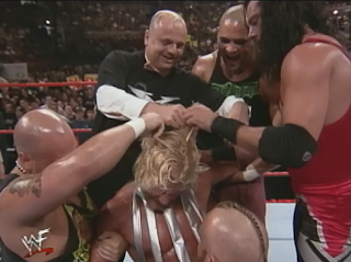 WWE / WWF Summerslam 1998 - X-Pac, Howard Finkle and The Headbangers cut off Jeff Jarrett's hair