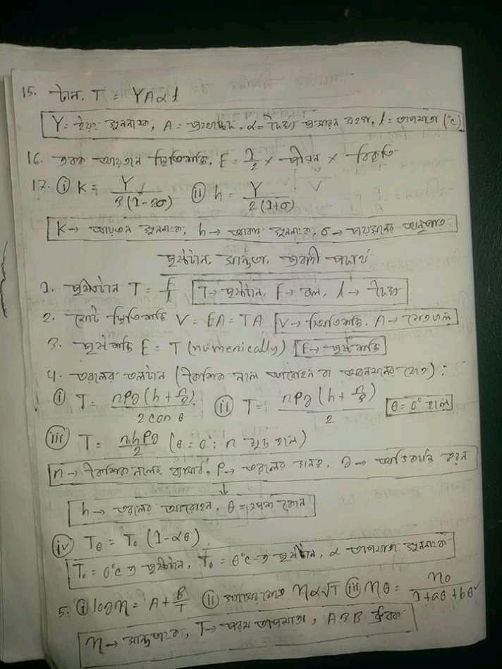 এইচ এস সি পদার্থবিজ্ঞান ১ম পত্র পদার্থের গাঠনিক ধর্ম অধ্যায় সুত্র |এইচ এস সি পদার্থবিজ্ঞান ১ম পত্র সকল সুত্র