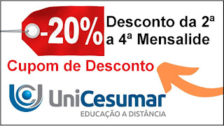 Cupom de Desconto Unicesumar - 20% de Desconto em 3 mensalidades