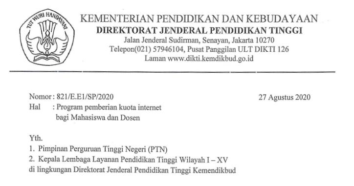 Surat Dirjen Dikti Kemendikbud Tentang Program Pemberian Kuota Internet Bagi Mahasiswa dan Dosen