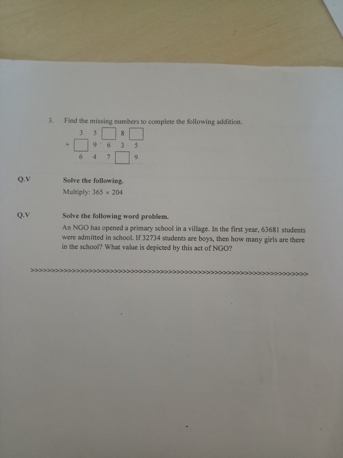 Pis Vadodara Std 4 Grade 4 Math Revision Worksheet