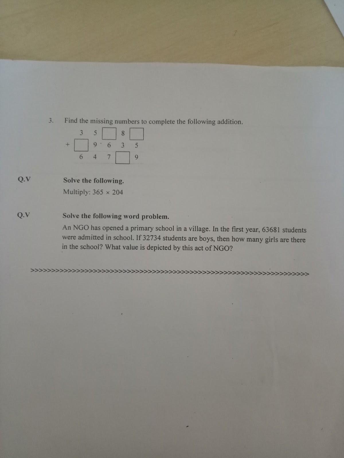 Pis Vadodara Std 4 Grade 4 Math Revision Worksheet