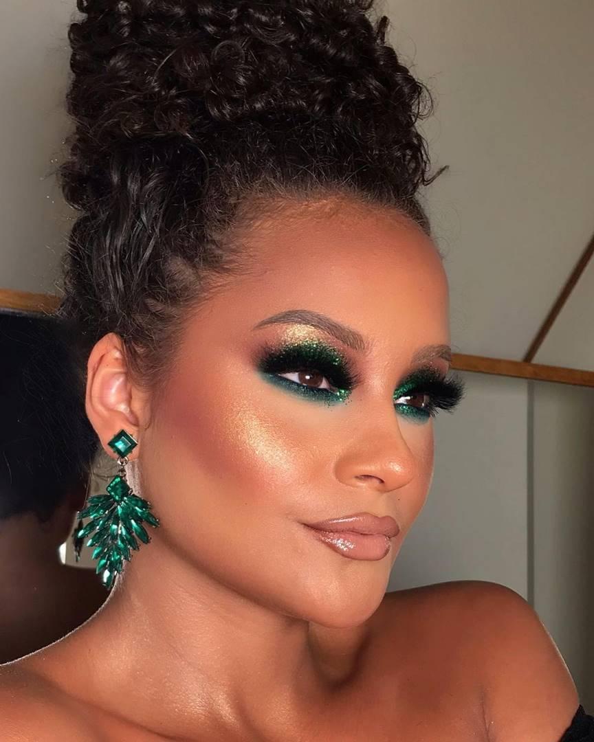 Make sombra verde glitter