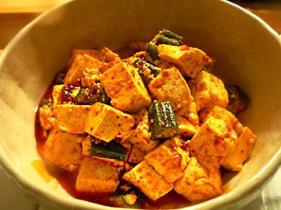 豆腐とオクラのラー油炒め