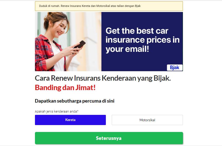 renew insuran roadtax dengan BJAK.MY