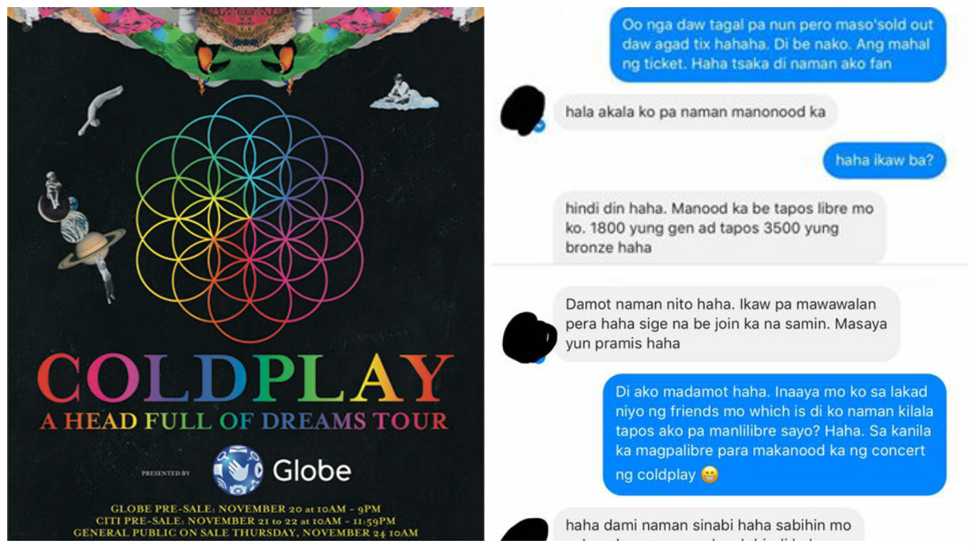 Pal tries to reconnect with friend to score a free Coldplay concert ticket