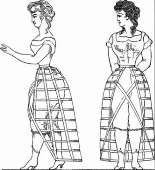 moda em 1800 saias