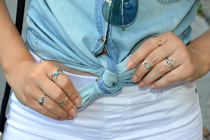 stacked silver turquoise rings