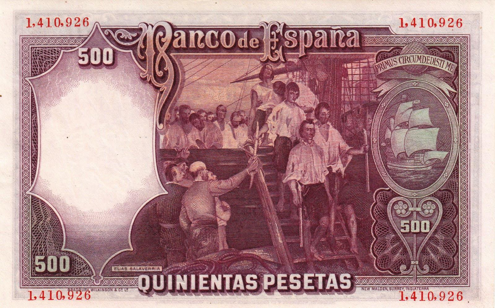 Spain money currency 500 Pesetas banknote 1931