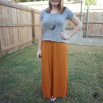 awayfromtheblue Instagram | workign from home isolation outfit leopard print tee ochre maxi skirt affordable kmart thrifted style