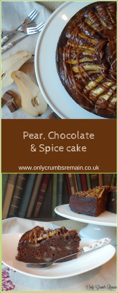 This pear cake recipe, flavoured with spices of cardamom and ginger and chocolate is a perfect way to use up spoilt pears.  It is finished with sliced pears which are glazed and a drizzle of ganache
