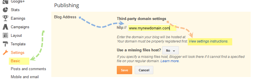 set up custom domain in blogger