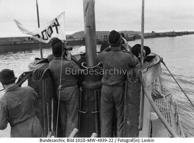 U-201 entering port at Brest, France, 21 May 1942 worldwartwo.filminspector.com
