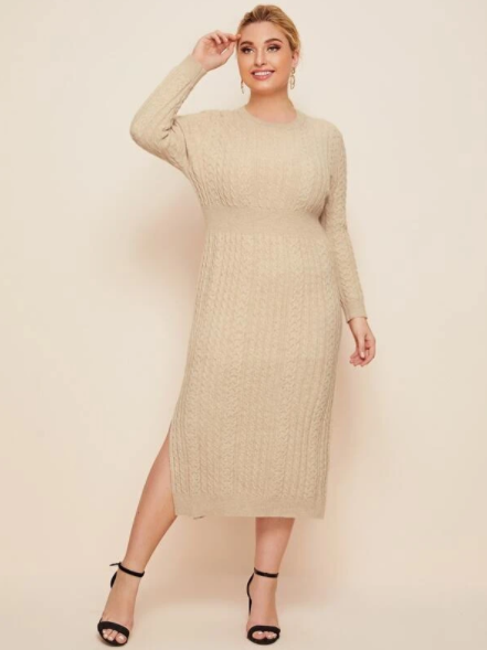 Apricot cable knit sweater dress