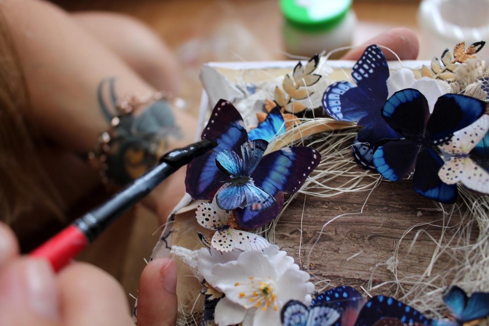Цветами, открытка с бабочками мк