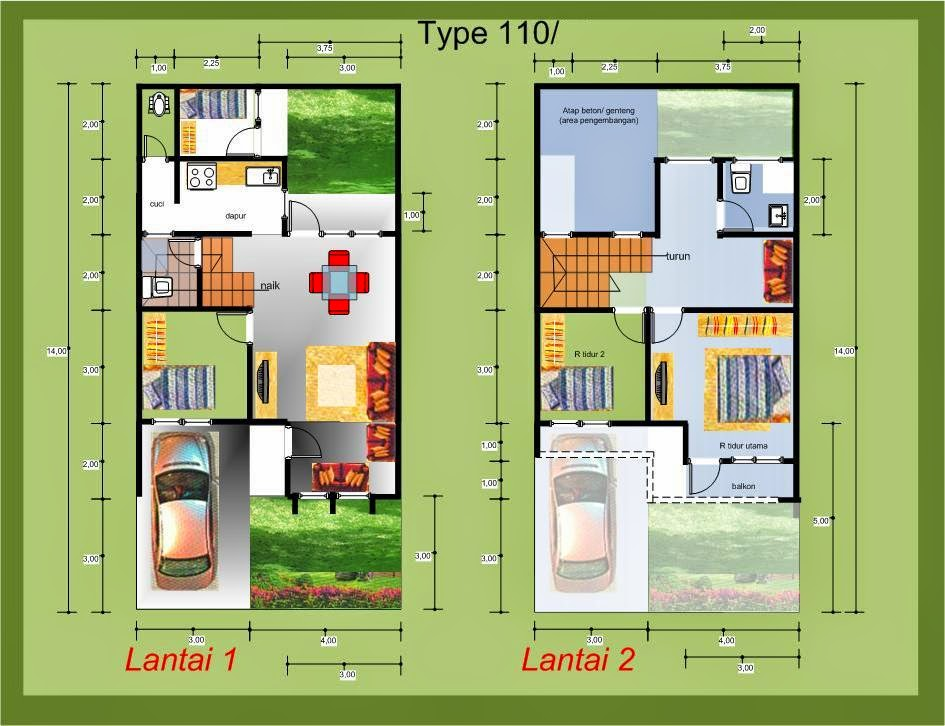Rumah Danielle: Denah Rumah Minimalis Modern 1 lantai dan ...
