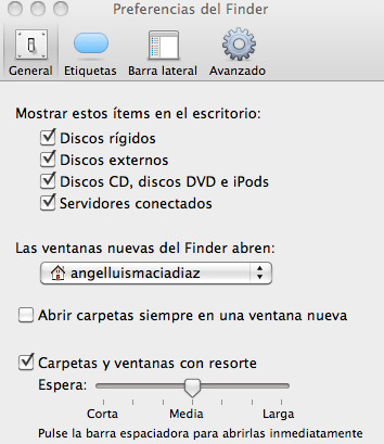 Preferencias del finder