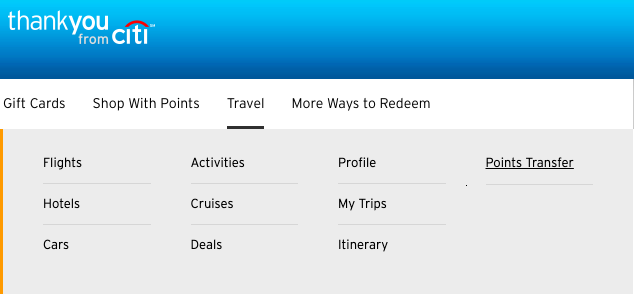 How To Transfer Citi ThankYou Points To Partners?