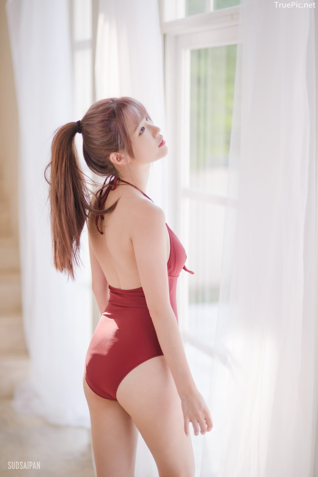Chinese hot streaming girl - 簡欣汝 - Red Swimming Suit - TruePic.net - Picture 7