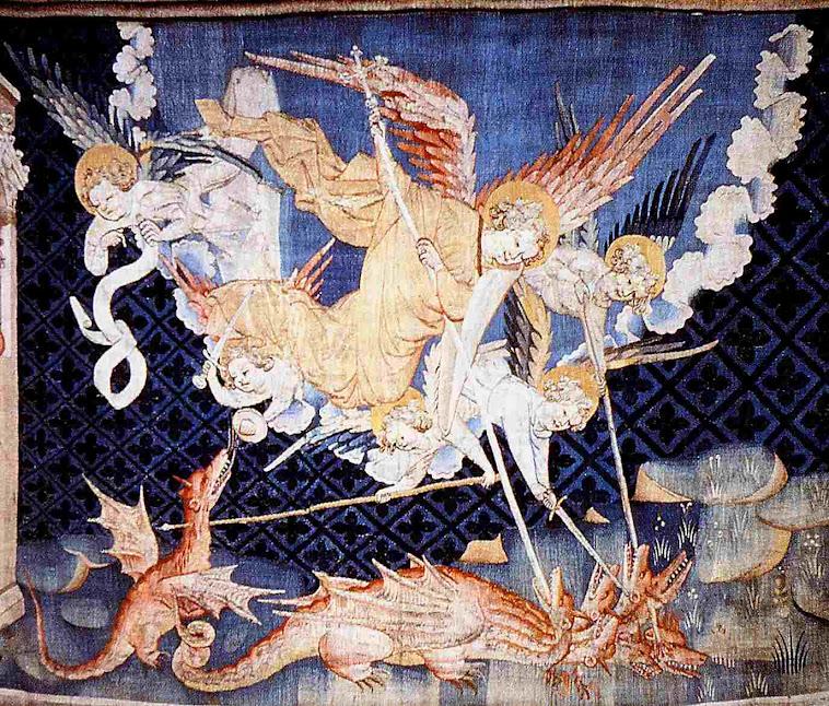 São Miguel e os anjos derrotam as bestas. Tapeçaria do Apocalipse, Angers