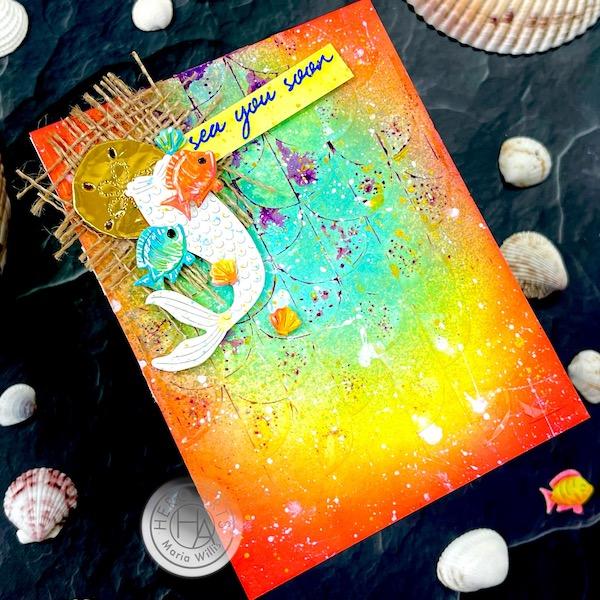 Cardbomb, Maria Willis,Hero Arts, Mixed Media, Stencil, Inkblending, distress oxide spray,Dina Wakley Gloss Sprays, Ranger Ink, Cards, card making,die cutting, stamping, ocean, grunge
