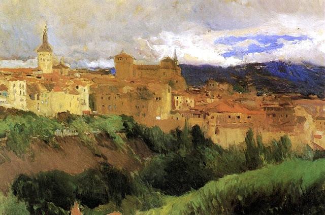 Vista de Segovia, Joaquín Sorolla y  Bastida, Joaquín Sorolla, Paisajes de Joaquín Sorolla, Impresionismo Valenciano, Joaquín Sorolla Bastida
