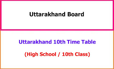Uttarakhand 10th Class Exam Time Table