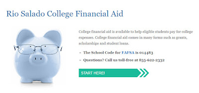 snapshot of rio salado financial aid web page featuring a piggy bank and headlines about services