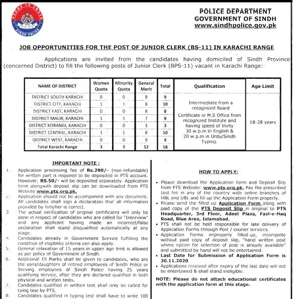 Junior Clerk Sindh Police Jobs 2020 - Karachi Range