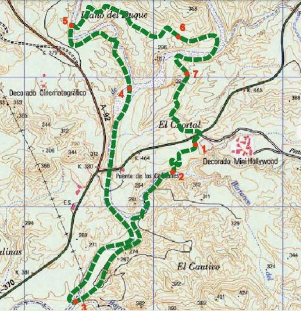 mapa senderismo desierto Tabernas Almería