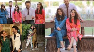 Areeba Habib and Minal Khan with Emad Irfani on set of their Drama Jalan
