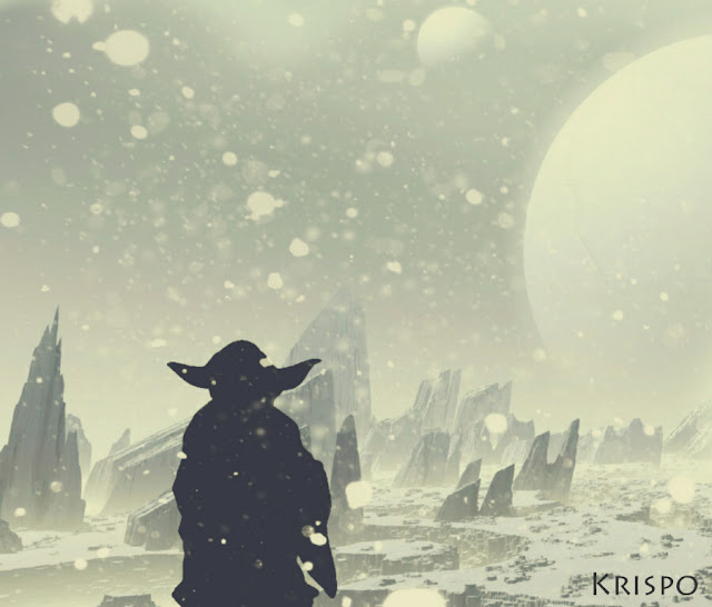 silueta de yoda en paisaje nevado