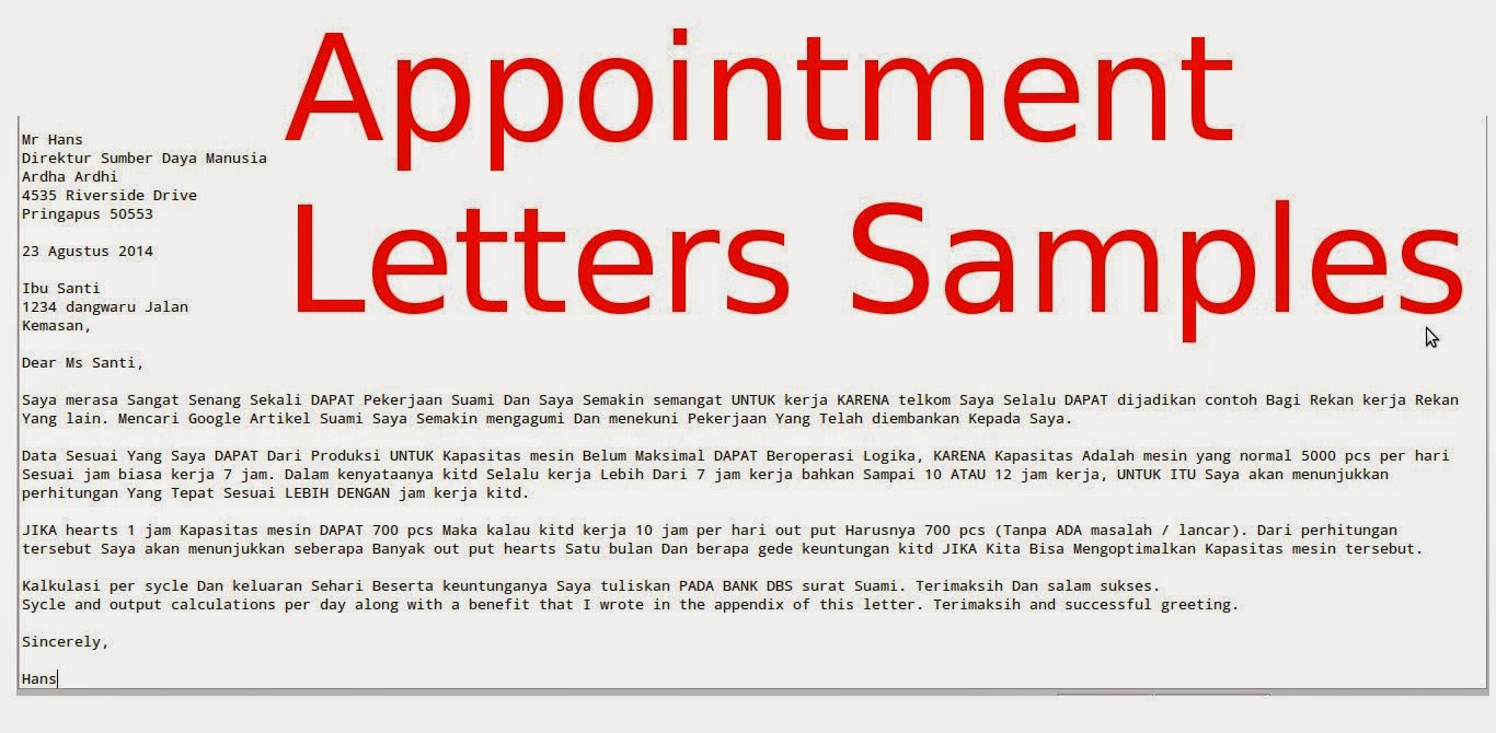Appointment Letters Samples Business