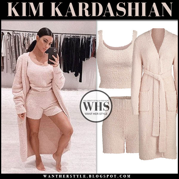 Kim Kardashian in blush pink knit skims robe, skims knit top and skims knit shorts. Celebrity loungewear home casual style