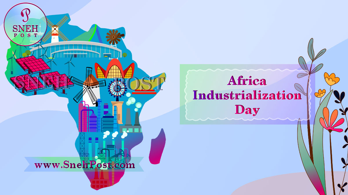 Africa Industrialization Day illustration of creative Africa map with industriesand factories incorporated