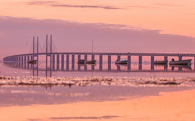 Öresund Bridge at sunset time in Malmö Sweden
