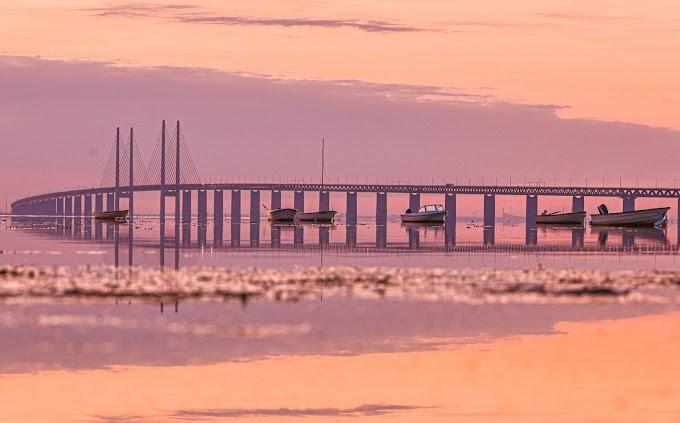 Öresund Bridge at sunset time in Malmö Sweden