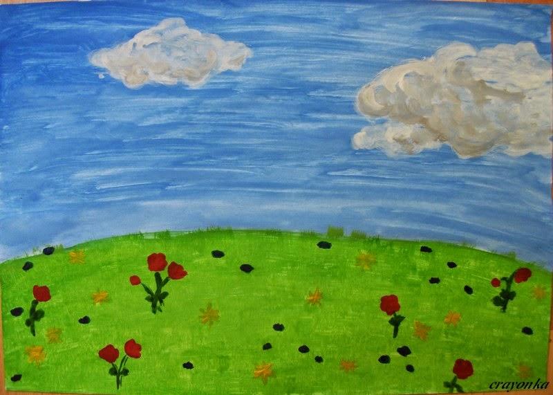 łąka namalowana farbą