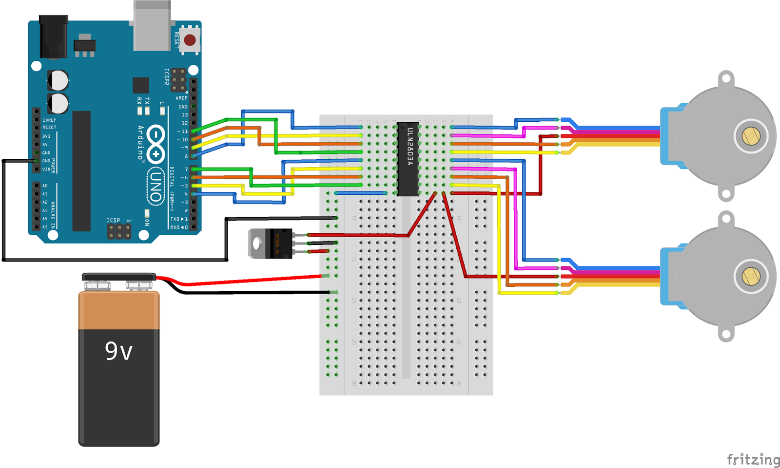 Moving Electrons: Driving multiple stepper motors simultaneously with one Arduino Uno