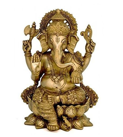 Brass Decor India Mangalkari Ganesha Statue (12.25x7.75-inch, Gold)