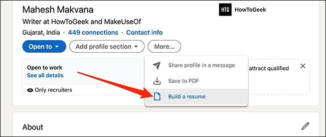 """حدد """"إنشاء سيرة ذاتية"""" في صفحة ملف تعريف LinkedIn."""
