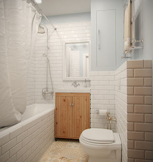 White tub with curtain for small bathroom