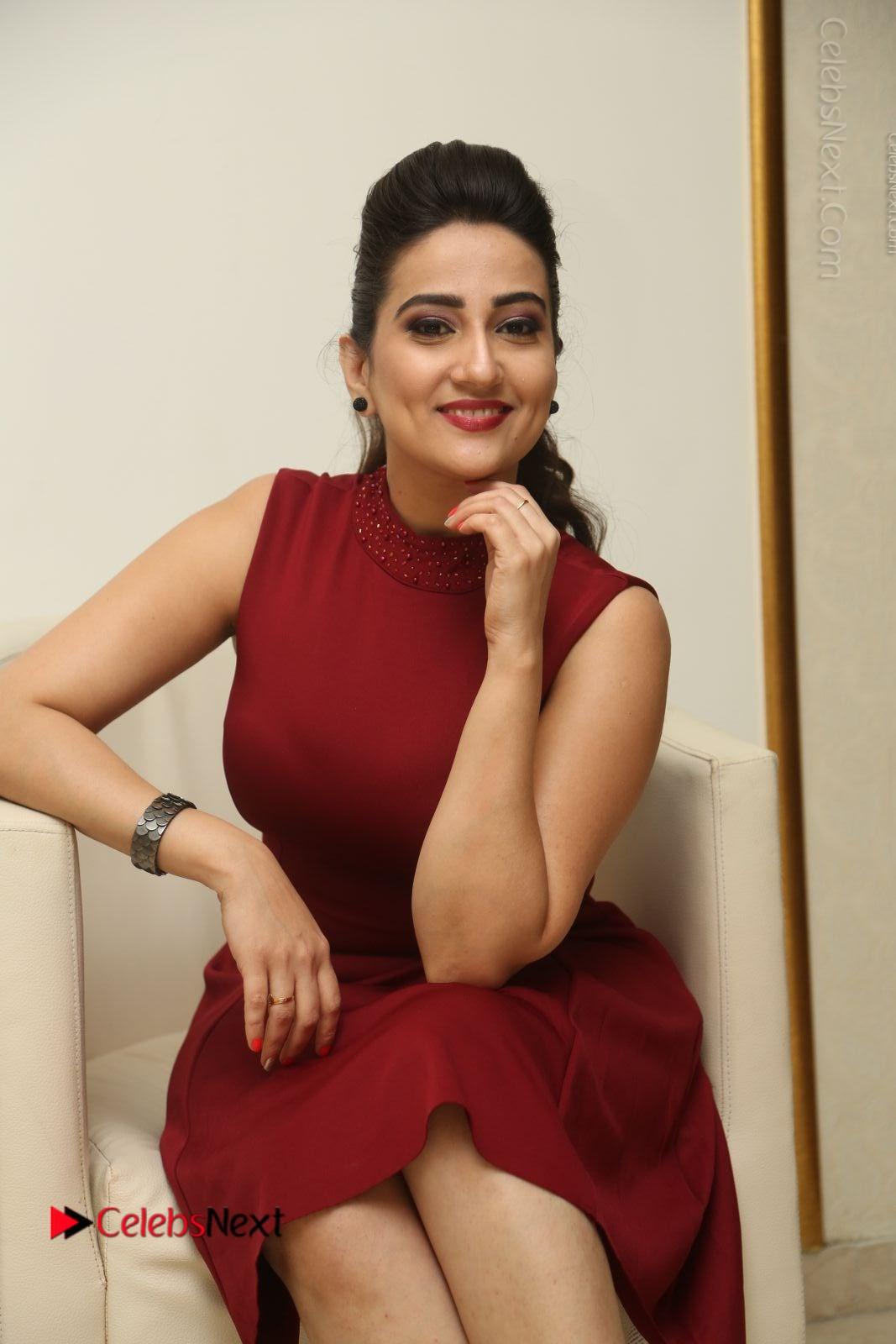 Manjusha Latest Photos in Red Short Dress