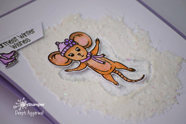 Snow angel Ice effect holiday card