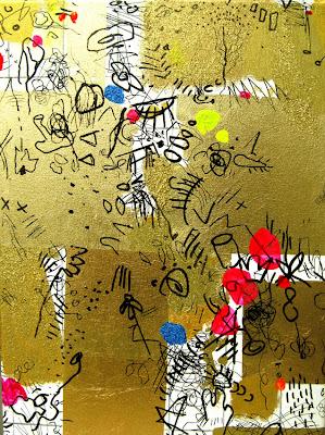 Bild No. 141210 GZ  Blattgold, Acryl und Filzstift auf Leinwand, 30 x 40 cm, modern, abstrakt, Dagmar Mahlstedt