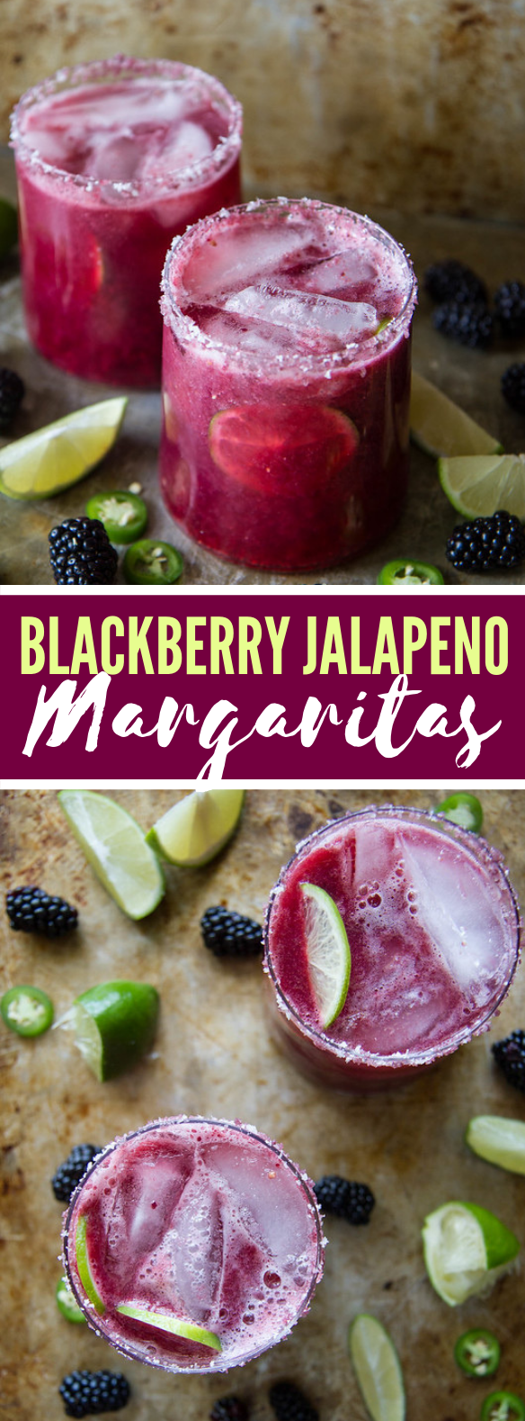 Blackberry Jalapeno Margaritas #drinks #cocktails