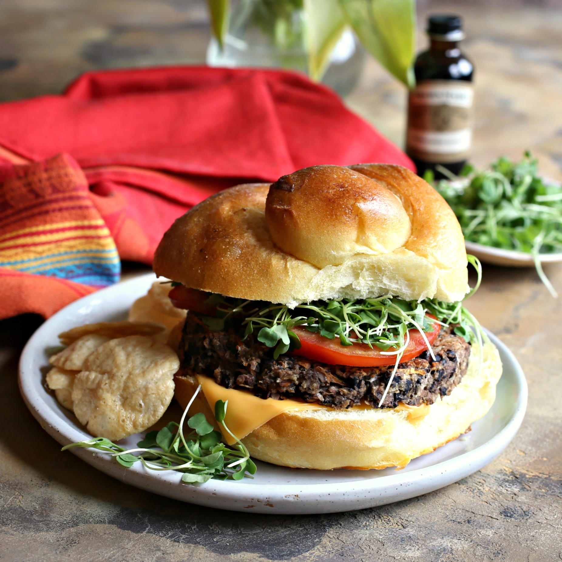 Recipe for black bean burgers flavored with coffee extract for a smoky flavor.