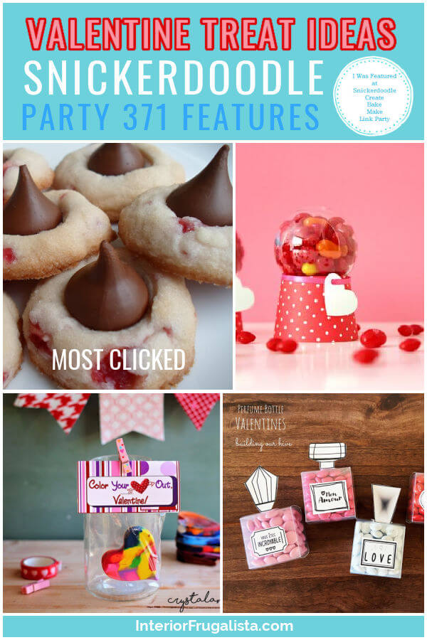 Valentine Treat Ideas - Snickerdoodle Create Bake Make Link Party 371 Features co-hosted by Interior Frugalista #linkparty #linkpartyfeatures #snickerdoodleparty
